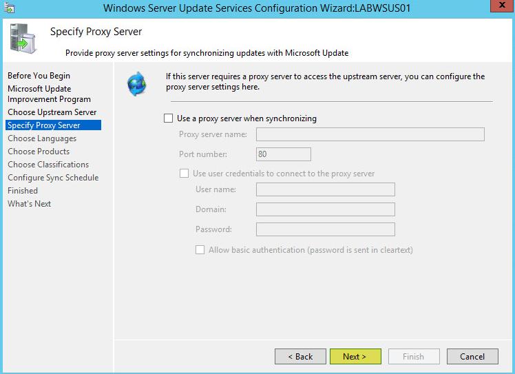 WSUS Config 5 - Specify Proxy Server