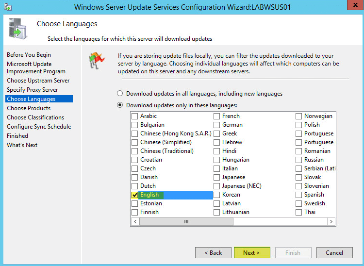 WSUS Config 6 - Choose Languages