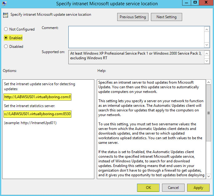 WSUS Group Policy 7 - Configure GP Update Service Location