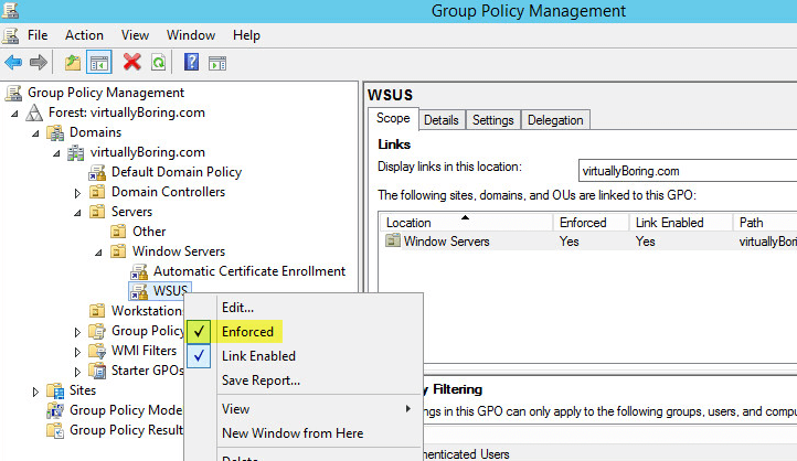 WSUS Group Policy 8 - Enforce Policy