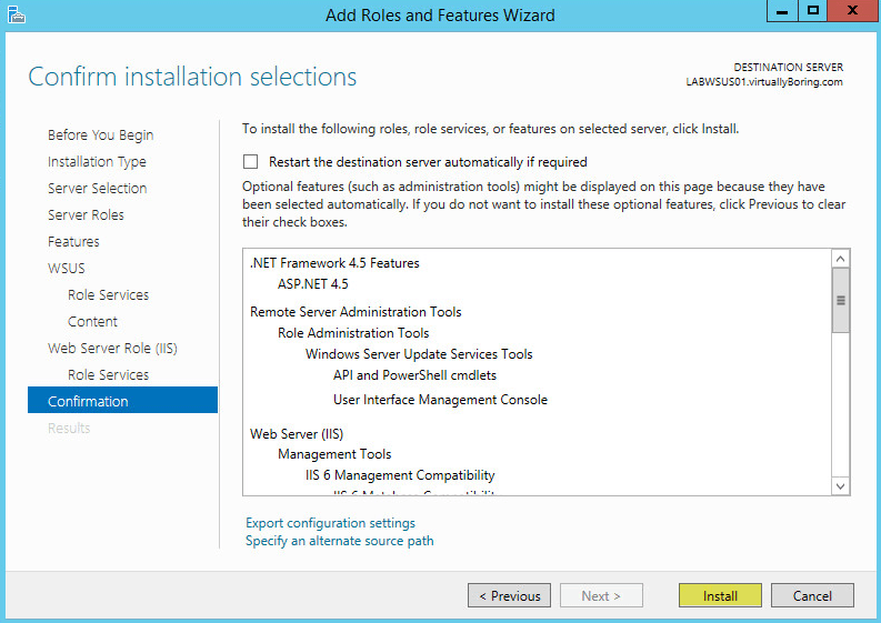 WSUS Install 12 - Confirmation