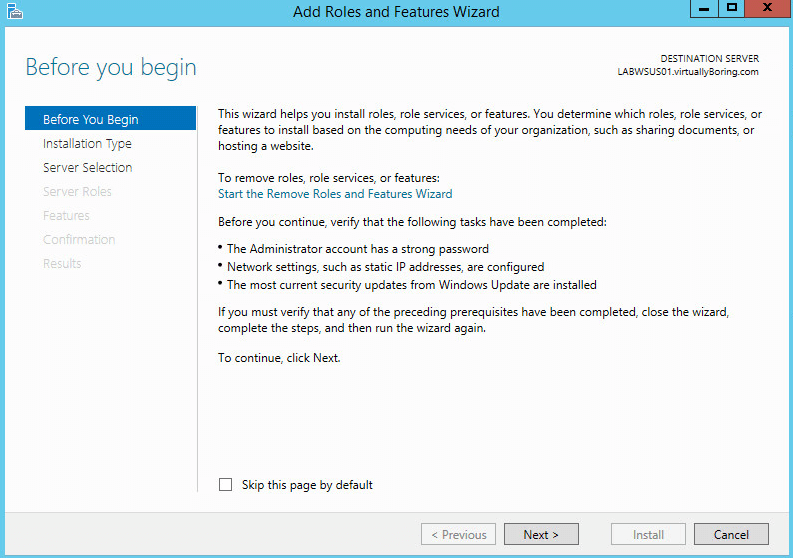 WSUS Install 2 - Before you Begin