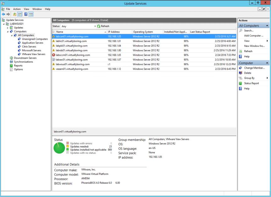WSUS Computer Status