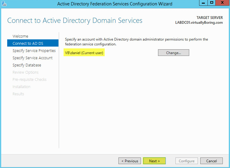 AD FS Configuration 12 - Connect to AD DS