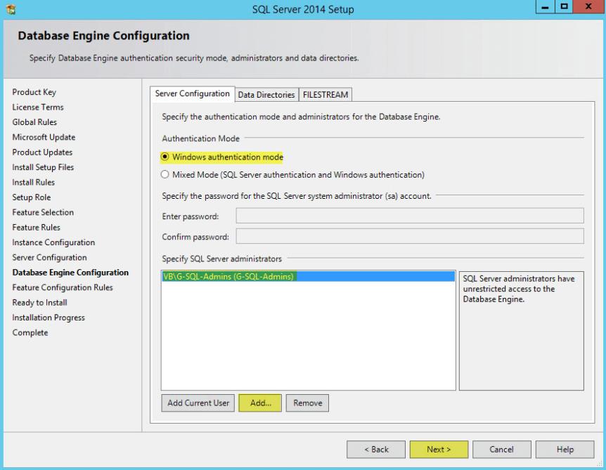 Microsoft SQL 2014 10 - Database Enginer Configuration