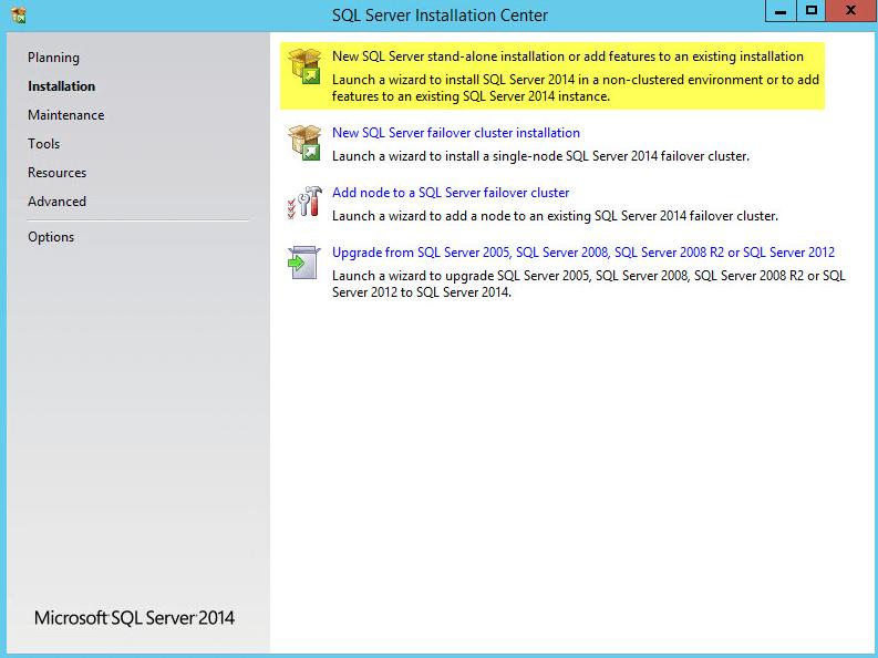 Microsoft SQL 2014 2 - New SQL Server standalone