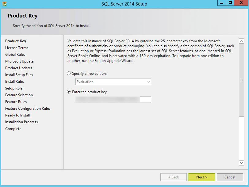 Microsoft SQL 2014 3 - Product Key