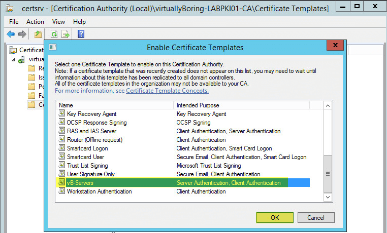 How to setup microsoft active directory certificate services ad pki 29 certification authority enable certificate templates yadclub Gallery