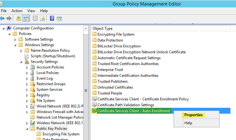 PKI 35 - Group Policy - Auto Enrollent Properties