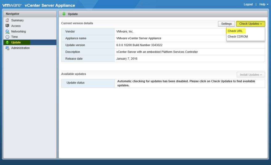 Update VCSA 2 - CheckURL for Updates