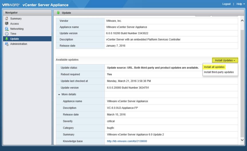Update VCSA 3 - Install al updates