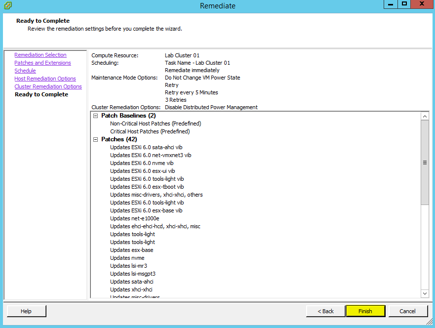 VUM Configure 19 - Ready to Complete