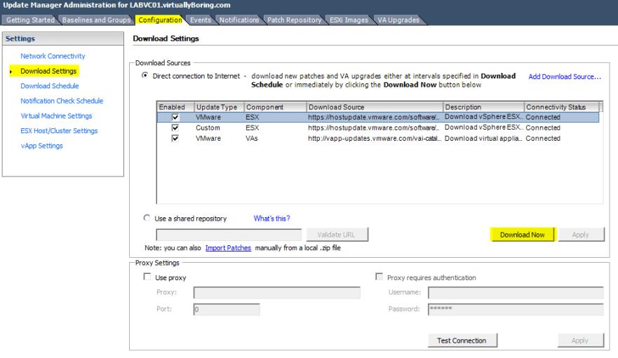 VUM Configure 7 - Download VMware Patches
