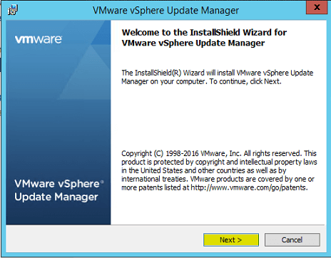 VUM Install 4 - Welcome to Install Wizard