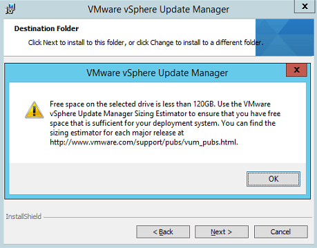VUM Install 9-1 - Not enough space