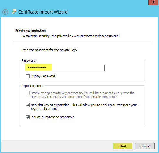 WAP Import Certificate 7 - Private Key Protection