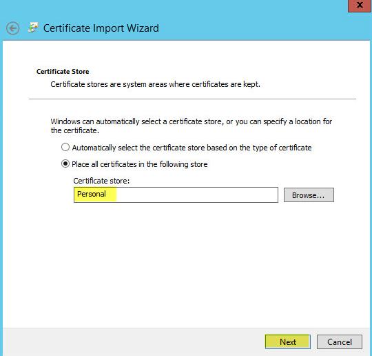 WAP Import Certificate 8 - Certificate Store