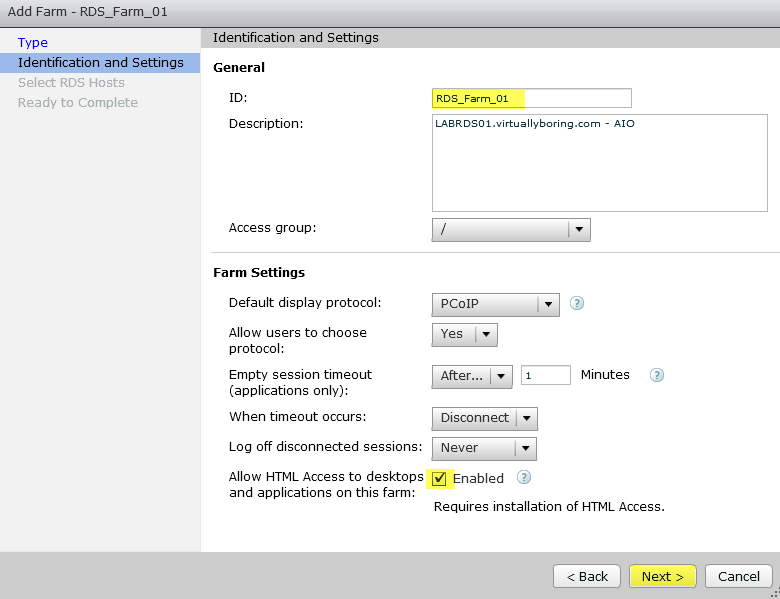Add RDS Server to View 7 - 13 Add Farm Identification and Settings