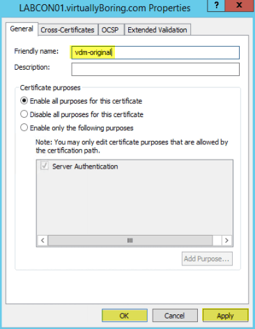 Add SSL Cert fo View - 5 Rename Friendly Name