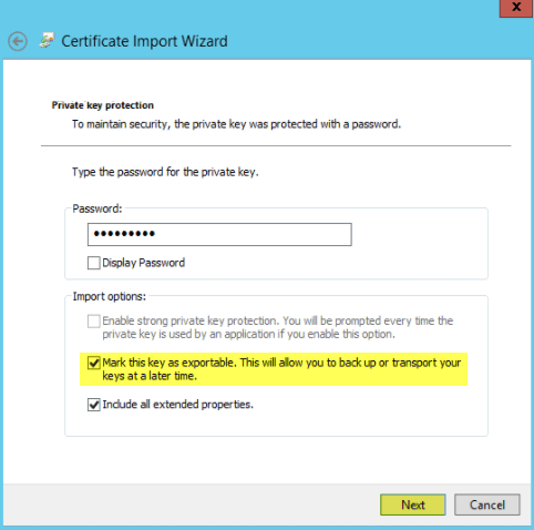 Add SSL Cert fo View - 6-1 Mark Key as Exportable