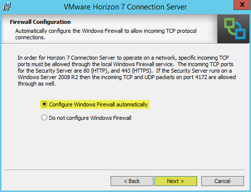 Horizon View 20 - Firewall Configuration