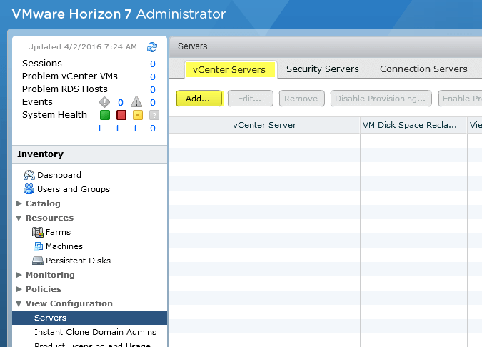 Horizon View 23 - Add vCenter