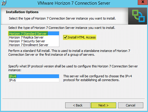 Horizon View 5 - Installation Options