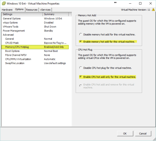 Horizon View 7 - Enable Memory and CPU Hot Add