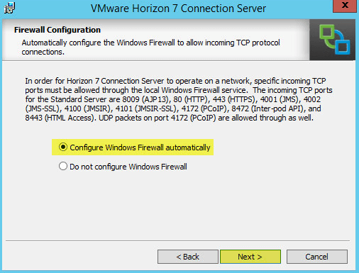 Horizon View 7 - Firewall Configuration