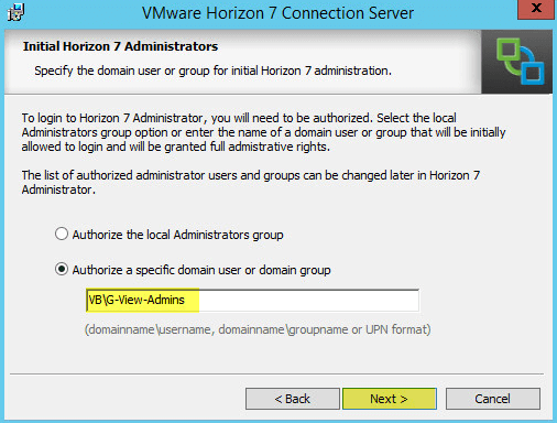 Horizon View 8 - Initial Horizon 7 Administrators