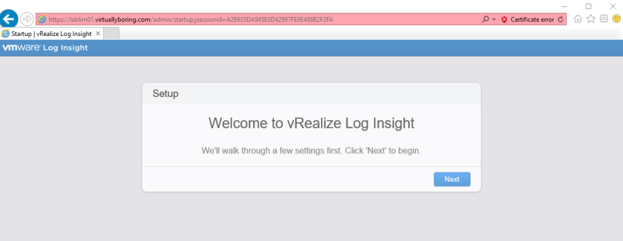 Log Insight Manager 11 - Welcome to Log Insight