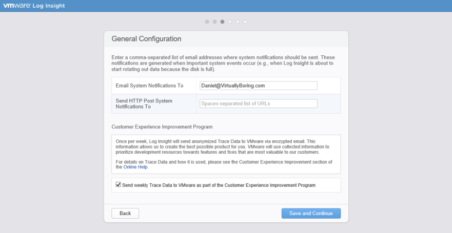 Log Insight Manager 15 - General Configuration