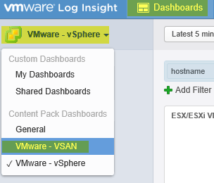 Log Insight Manager 27 - Switch to VSAN Dashboard
