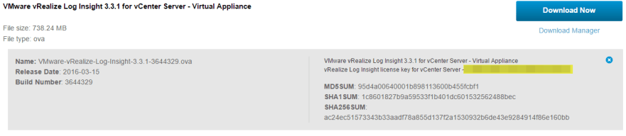 Log Insight Product Key for vCenter 5x