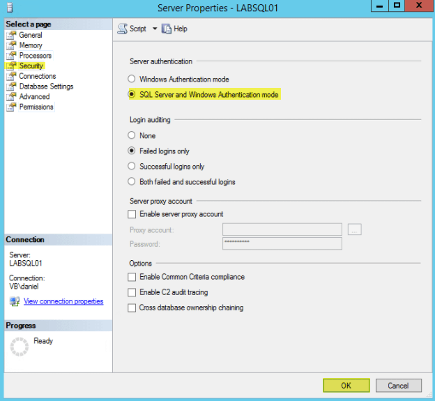 Microsoft SQL 2014 19 - Enable SQL and Windows Authentication Mode