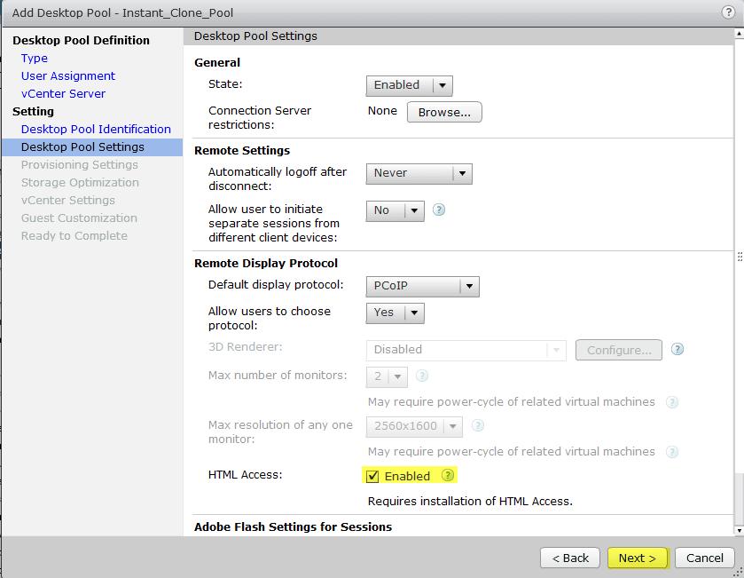 8 View Instant Clone - Desktop Pool Settings