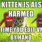 A kitten is also harmed, every time you edit a VMX file by hand