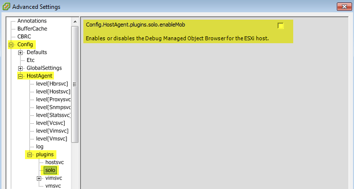 Quick Tip – vSphere MOB is disabled by default in ESXi 6 0