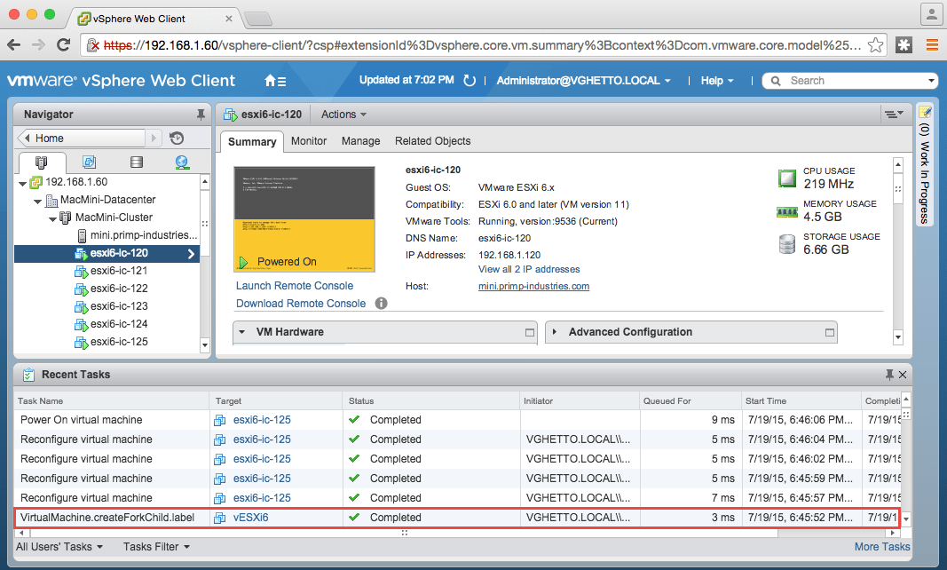 How to VMFork aka Instant Clone Nested ESXi?