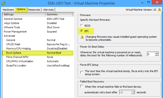 UEFI PXE boot is possible in ESXi 6 0