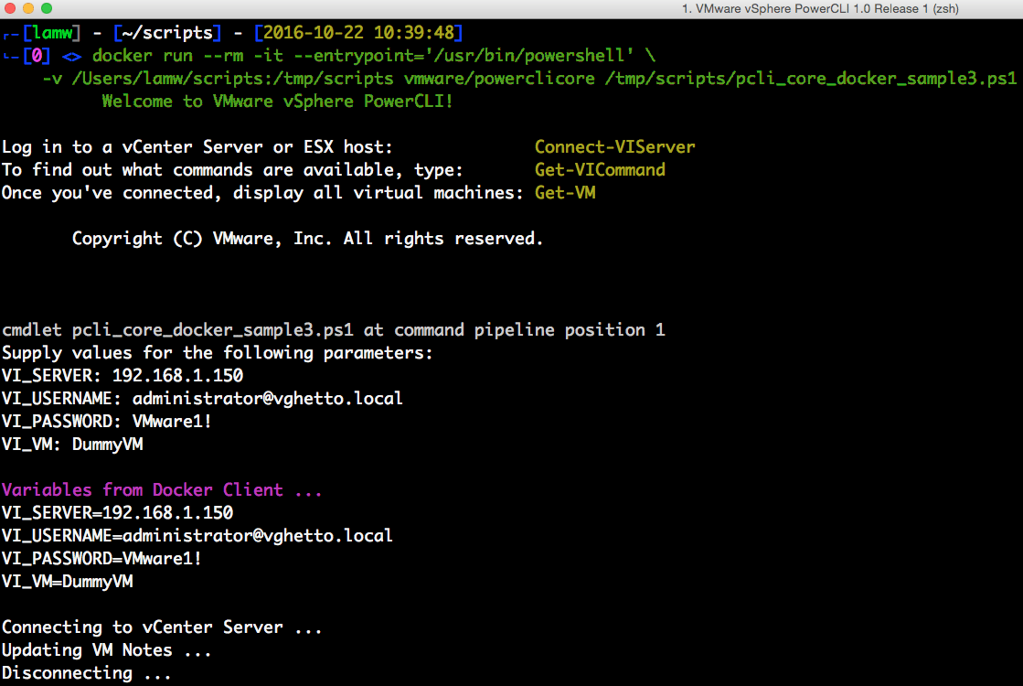 5 ways to a run PowerCLI script using the PowerCLI Docker