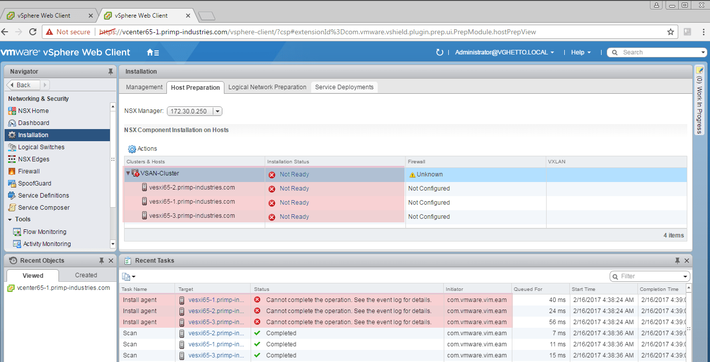 Potential ESXi Host Preparation issues with NSX 6 3