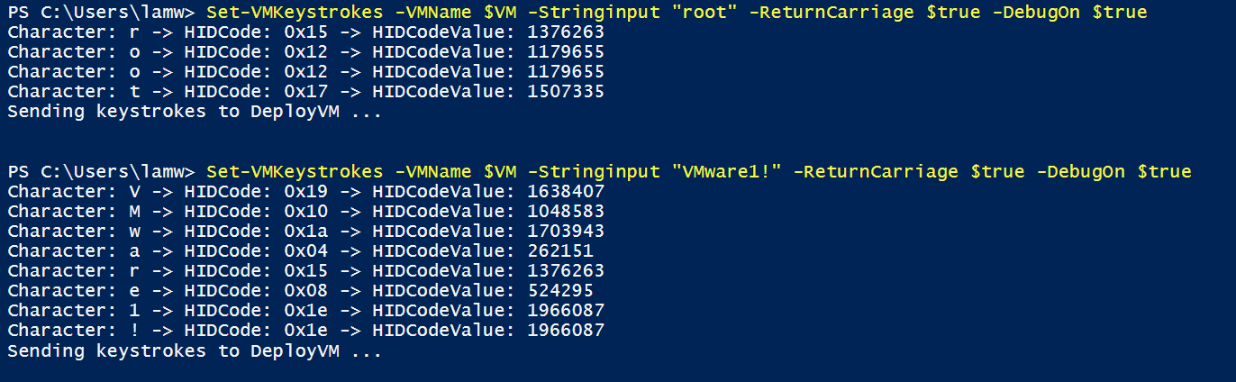 Automating VM keystrokes using the vSphere API & PowerCLI