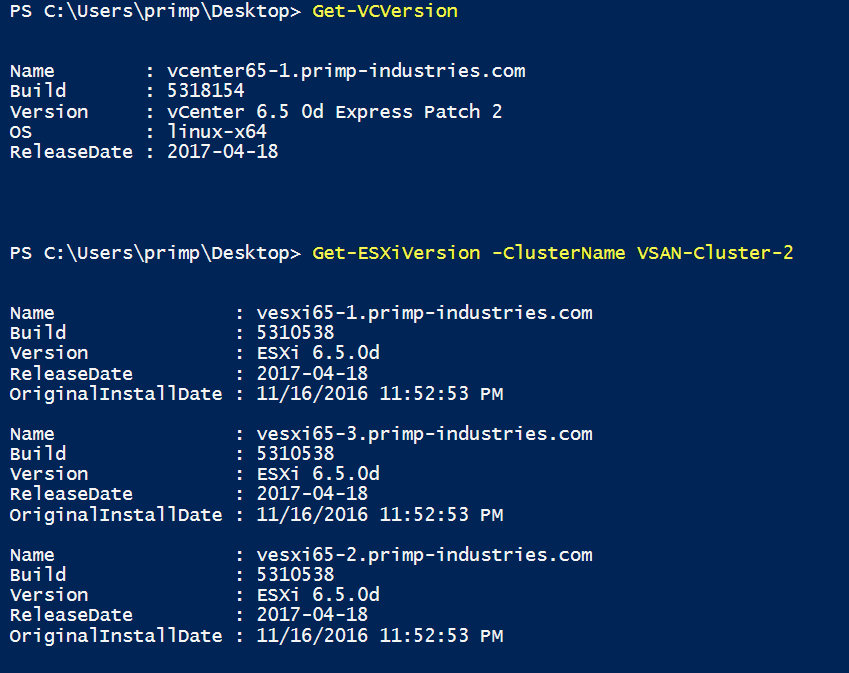 PowerCLI script to help correlate vCenter, ESXi & vSAN build