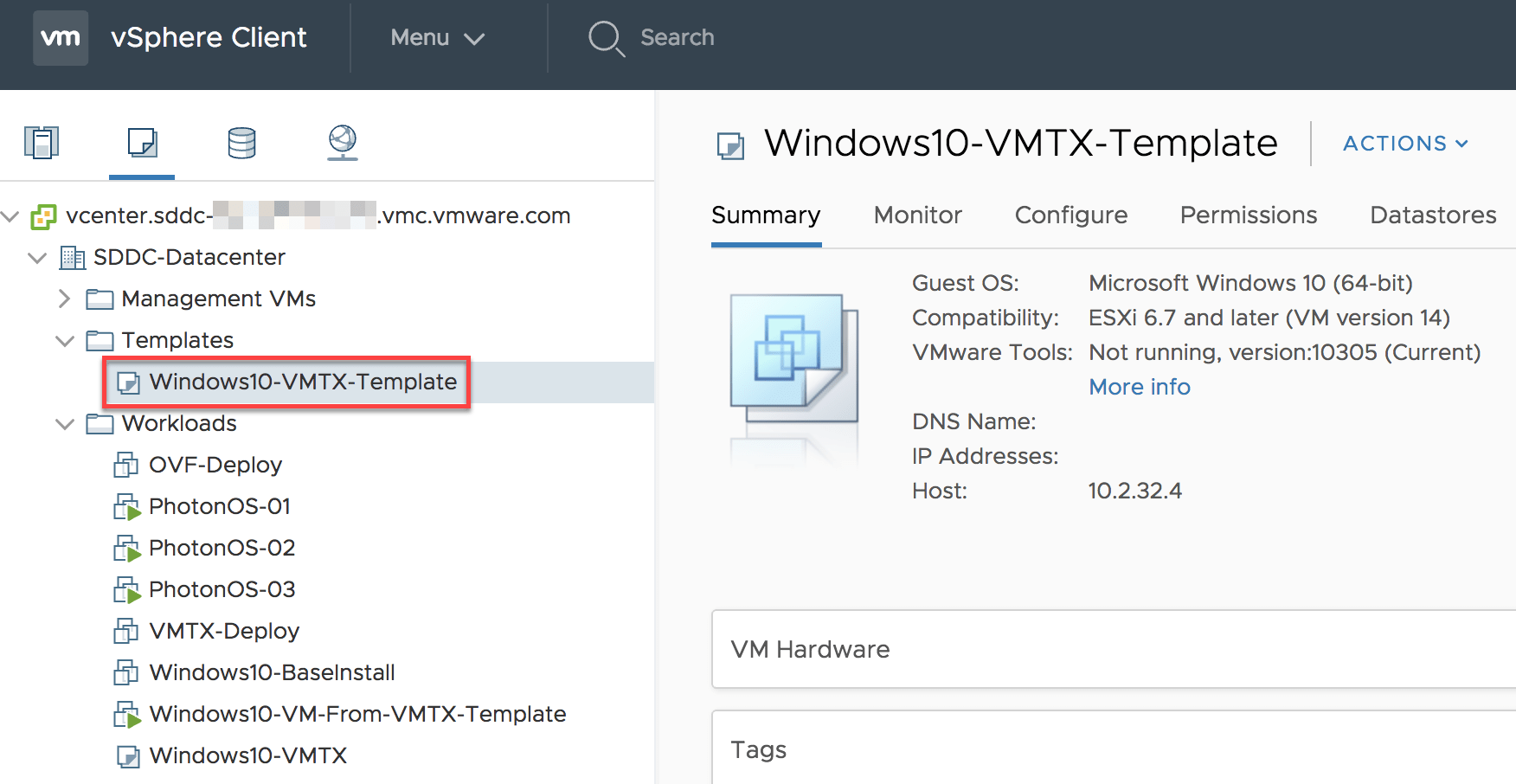 Automating VM Template management using Content Library in VMC
