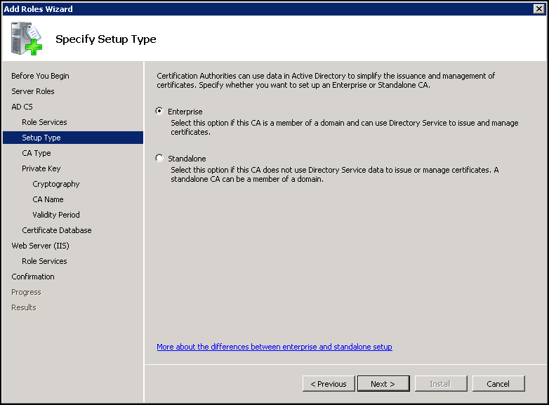 Installing Active Directory Certificate Services Virtually Impossible