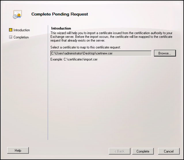 Issuing a certificate to exchange 2010 using an internal certificate once completed yelopaper