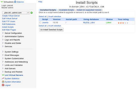 Virtualmin Install Scripts interface for installing and updating dozens of web applications