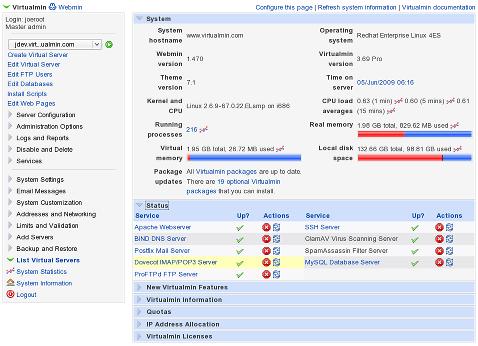 System Information dashboard in Virtualmin