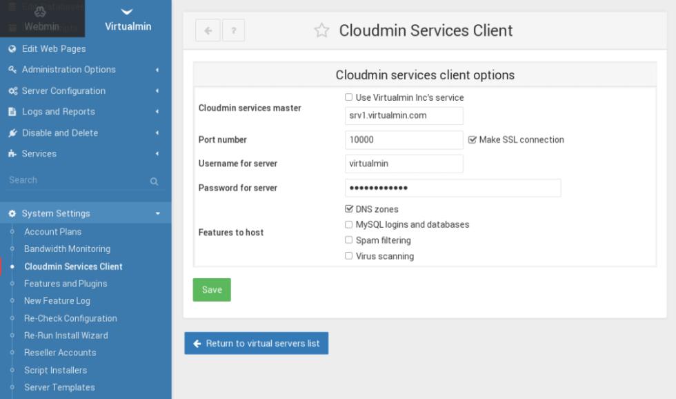Cloudmin Services client configuration
